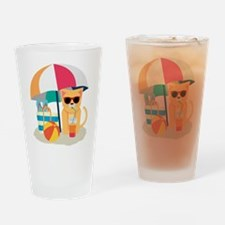 Cute Cool Cat at the beach Drinking Glass
