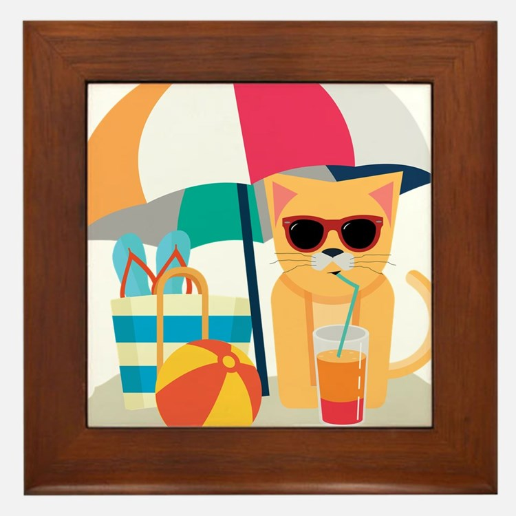 Cute Cool Cat at the beach Framed Tile