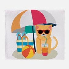 Cute Cool Cat at the beach Throw Blanket