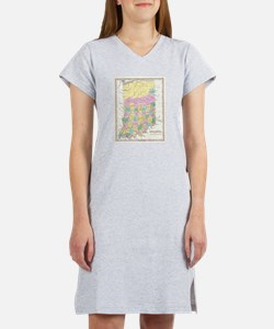 Vintage Map of Indiana (1827) Women's Nightshirt
