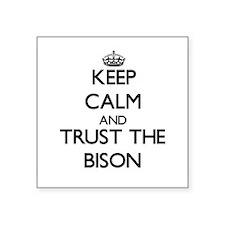 "Cute Bison herd Square Sticker 3"" x 3"""