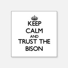 "Cute Bison herd Square Sticker 3"" x 3"""