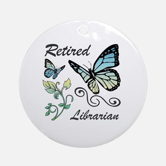 Retired Librarian Round Ornament