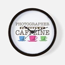 Photographer Powered by Caffeine Wall Clock