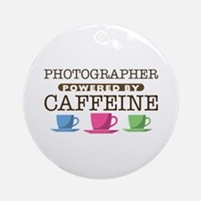Photographer Powered by Caffeine Round Ornament