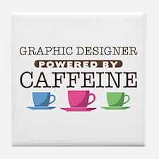 Graphic Designer Powered by Caffeine Tile Coaster