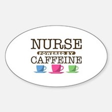 Nurse Powered by Caffeine Oval Sticker (10 pack)