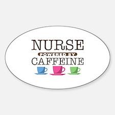 Nurse Powered by Caffeine Oval Sticker (50 pack)