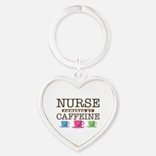 Nurse Powered by Caffeine Heart Keychain
