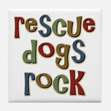 Rescue Dogs Rock Pet Dog Lover Tile Coaster