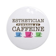 Esthetician Powered by Caffeine Round Ornament
