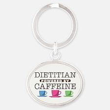 Dietitian Powered by Caffeine Oval Keychain