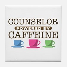 Counselor Powered by Caffeine Tile Coaster