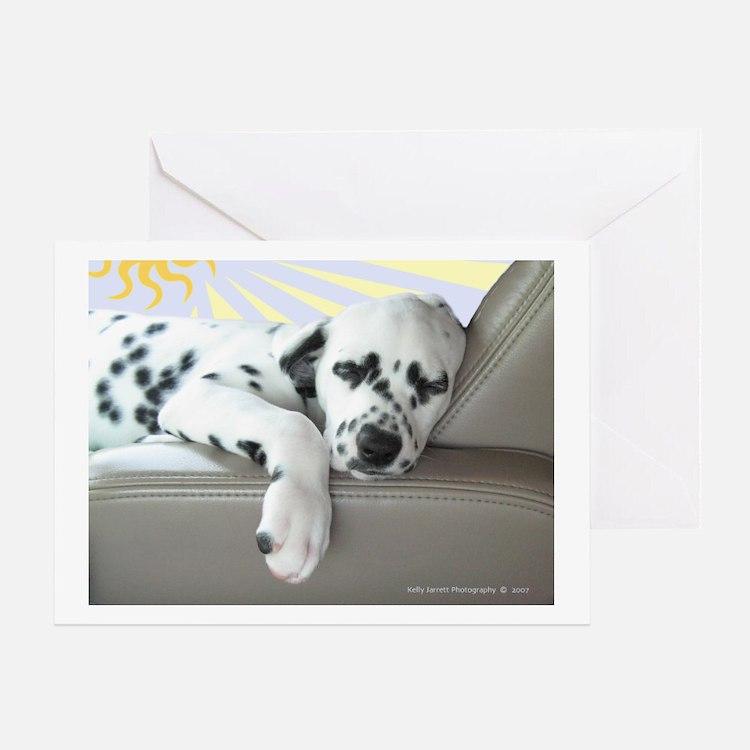 Dalmatian Sleeping in Car Greeting Cards