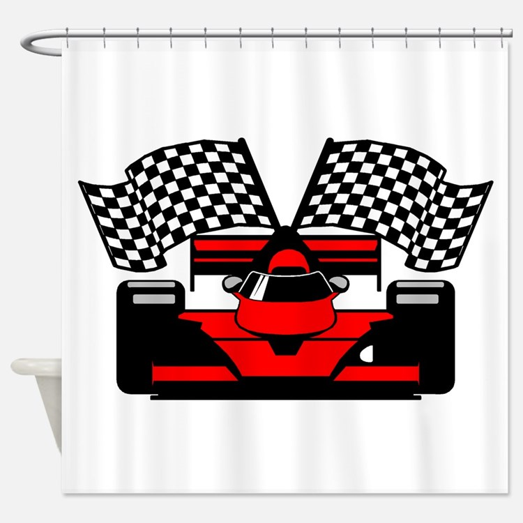 RED RACECAR Shower Curtain