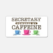 Secretary Powered by Caffeine Aluminum License Pla