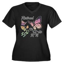 Retired Regi Women's Plus Size V-Neck Dark T-Shirt