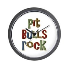 Pit Bulls Rock Dog Lover Wall Clock