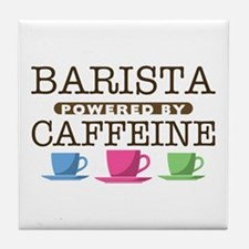 Barista Powered by Caffeine Tile Coaster