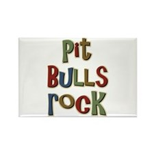 Pit Bulls Rock Dog Lover Rectangle Magnet (100 pac