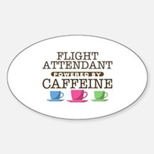 Flight Attendant Powered by Caffeine Oval Decal