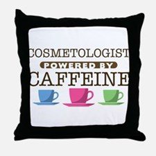Cosmetologist Powered by Caffeine Throw Pillow