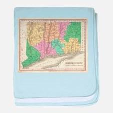 Vintage Map of Connecticut (1827) baby blanket