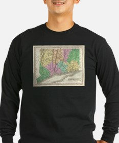 Vintage Map of Connecticut (18 Long Sleeve T-Shirt