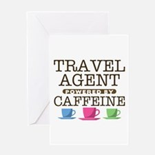 Travel Agent Powered by Caffeine Greeting Card