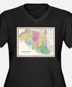 Vintage Map of Belgium (1827) Plus Size T-Shirt
