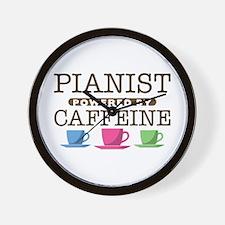 Pianist Powered by Caffeine Wall Clock