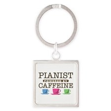 Pianist Powered by Caffeine Square Keychain