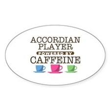 Accordian Player Powered by Caffeine Oval Decal