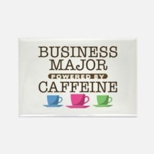 Business Major Powered by Caffeine Rectangle Magne