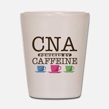 CNA Powered by Caffeine Shot Glass