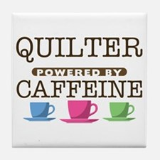 Quilter Powered by Caffeine Tile Coaster