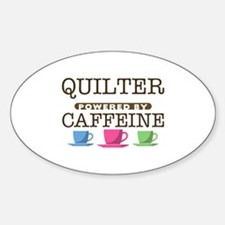 Quilter Powered by Caffeine Oval Stickers