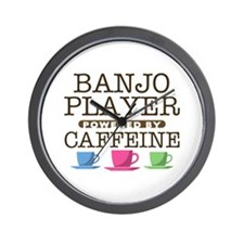 Banjo PLayer Powered by Caffeine Wall Clock