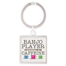 Banjo PLayer Powered by Caffeine Square Keychain