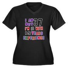 37 Birthday Women's Plus Size V-Neck Dark T-Shirt