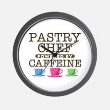 Pastry Chef Powered by Caffeine Wall Clock