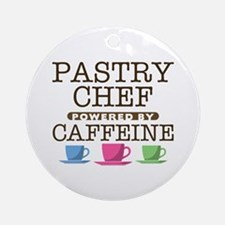 Pastry Chef Powered by Caffeine Round Ornament