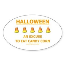 Candy Corn Halloween Oval Decal