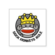 "Cute Monkey Square Sticker 3"" x 3"""