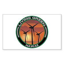 Living Green Hawaii Wind Power Sticker (Rectangula