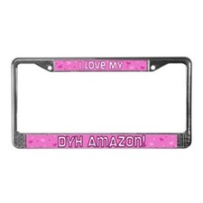 Pink Polka Dot DYH Amazon License Plate Frame