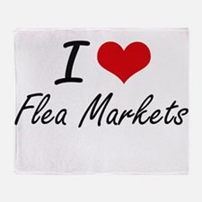I love Flea Markets Throw Blanket