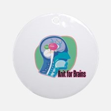 Knit for Brains Ornament (Round)