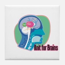 Knit for Brains Tile Coaster