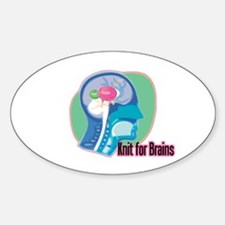 Knit for Brains Oval Decal